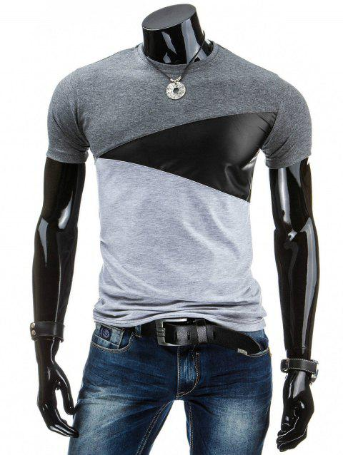 T-shirt à col rond décontracté Color Block Homme T-shirt - DEEP GRAY M