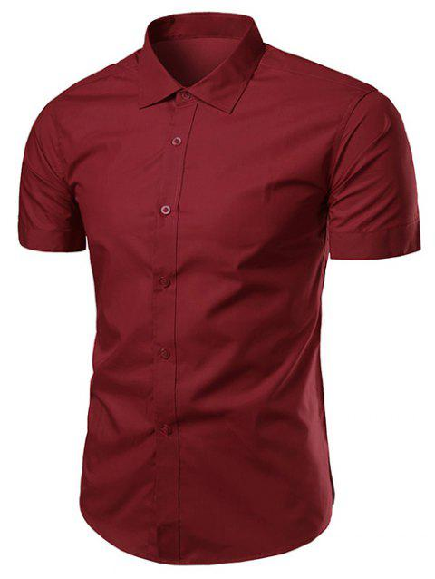 Turndown Collar Slimming Short Sleeve Business Shirt - WINE RED XL