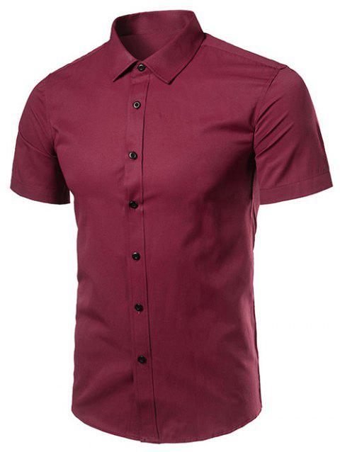 Short Sleeve Turndown Collar Business Shirt - WINE RED 4XL