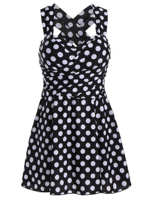 Polka Dot High Waist Plus Size Swimdress - BLACK WHITE 6XL