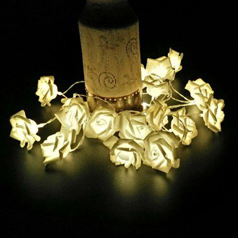 20 Pcs LED Rose Flower String Lights - WARM WHITE LIGHT
