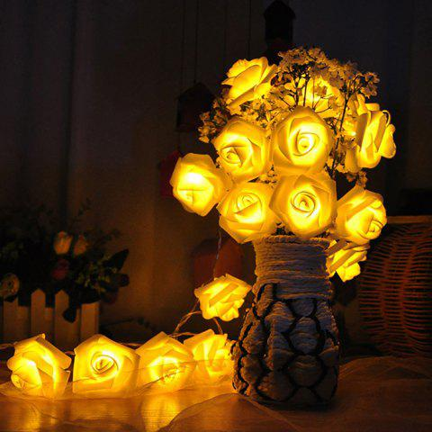 20 Pcs LED Rose Flower String Lights - YELLOW