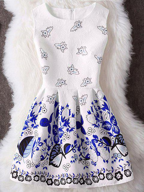 Plant Print Sleeveless Mini Dress - BLUE L