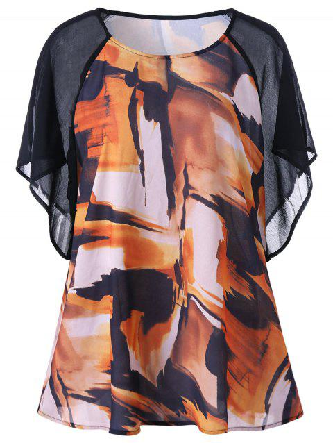 4b289ef232db2 41% OFF  2019 Plus Size Raglan Sleeve Graphic Blouse In COLORMIX XL ...