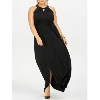 Plus Size Keyhole Slit Maxi Evening Dress
