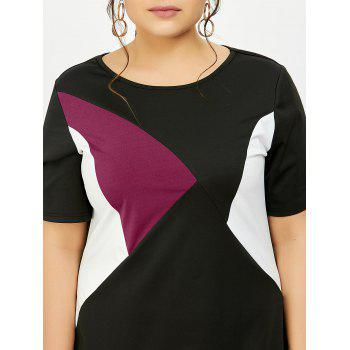 Plus Size Color Block Knee Length Tight Dress - 3XL 3XL