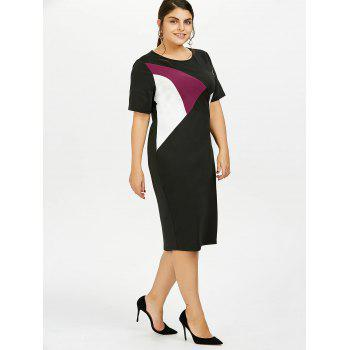 Plus Size Color Block Knee Length Tight Dress - COLORMIX COLORMIX