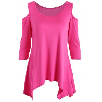 Tunic Handkerchief Top with Cold Shoulder