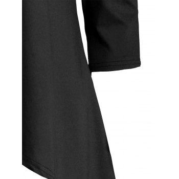 Tunic Handkerchief Top with Cold Shoulder - BLACK M