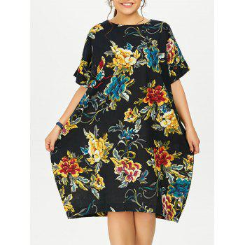 Plus Size Butterfly Floral Casual Midi Dress With Sleeve