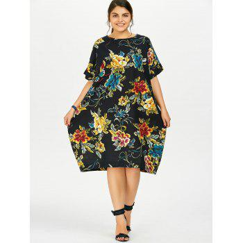 Plus Size Butterfly Floral Midi Oversized Dress, DEEP BLUE, ONE ...