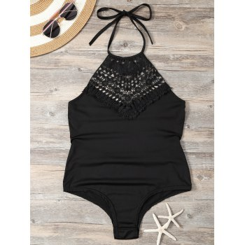 Crochet Panel Halter Backless Monokini