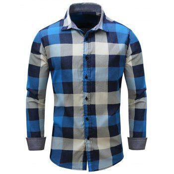 Oblique Stripe Color Block Checked Chambray Shirt