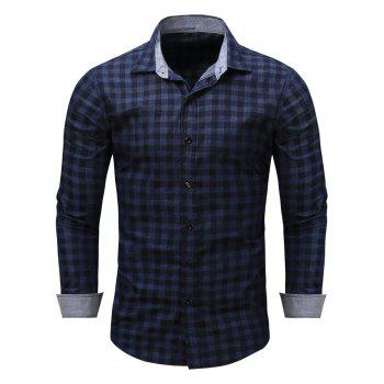 Checked Long Sleeve Chambray Shirt