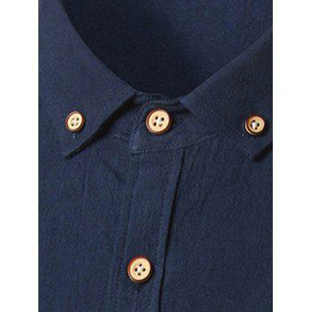 Long Sleeve Cotton Button Down Shirt - CADETBLUE 3XL