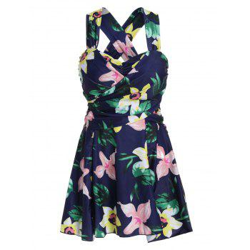 Plus Size HawaiianFloral High Waist Swimdress