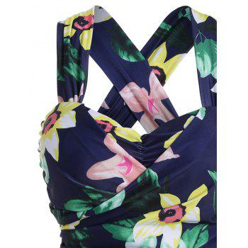 Plus Size HawaiianFloral High Waist Swimdress - FLORAL 6XL