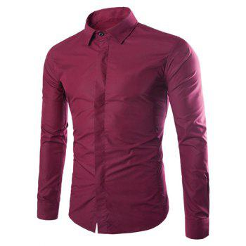 Turndown Collar Cover Placket Slimming Shirt