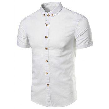 Cotton Linen Stripe Embellished Short Sleeve Shirt