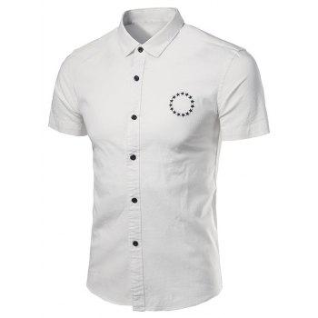 Stars Embroidered Short Sleeve Cotton Linen Shirt