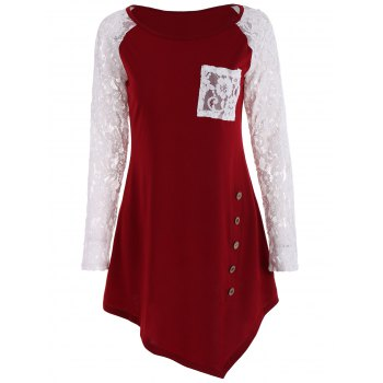 Raglan Sleeve Lace Panel Tunic Top
