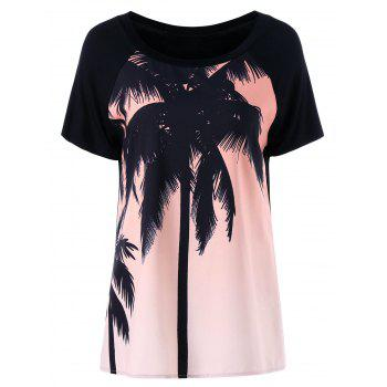 Scoop Neck Tropical Palm Tree Printed T-Shirt