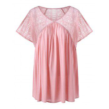 Plus Size Lace V Neck Peasant Top