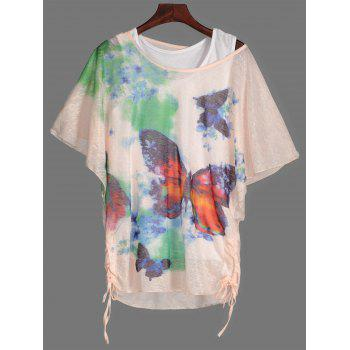 Drawstring Butterfly Print Tee and Tank Top