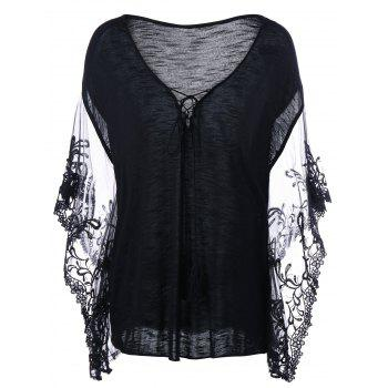Plus Size Flare Sleeve Lace Trim T-Shirt