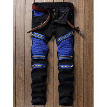 Zipper Color Block Biker Jeans