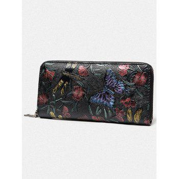 Flower Embossed Zip Around Wallet -  BUTTERFLY