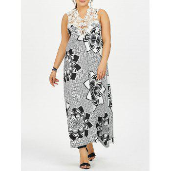 Plus Size Cutwork Lotus Print Maxi Dress