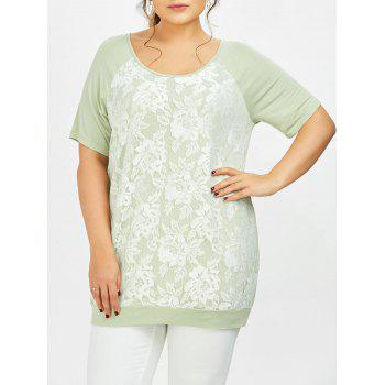 Plus Size Lace Trim Raglan Sleeve T-Shirt