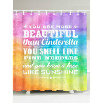 English Proverb Color Block Printed Shower Curtain - COLORMIX W71 INCH * L71 INCH