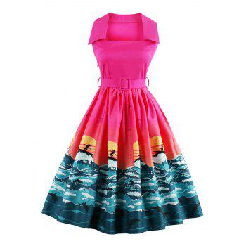 Vintage Ocean Print Pin Up Dress