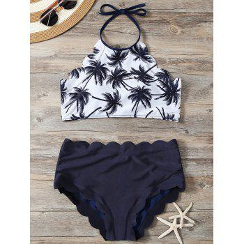 High Waist Scalloped Tropical Halter Top Bikini