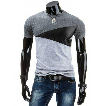 Casual Round Collar Pullover Color Block Men's T-Shirt