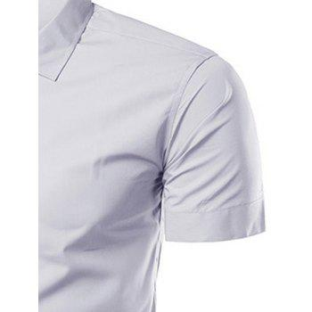 Turndown Collar Slimming Short Sleeve Business Shirt - LIGHT GRAY 3XL