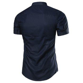 Turndown Collar Slimming Short Sleeve Business Shirt - CADETBLUE XL