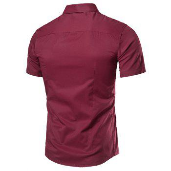 Short Sleeve Turndown Collar Business Shirt - WINE RED XL