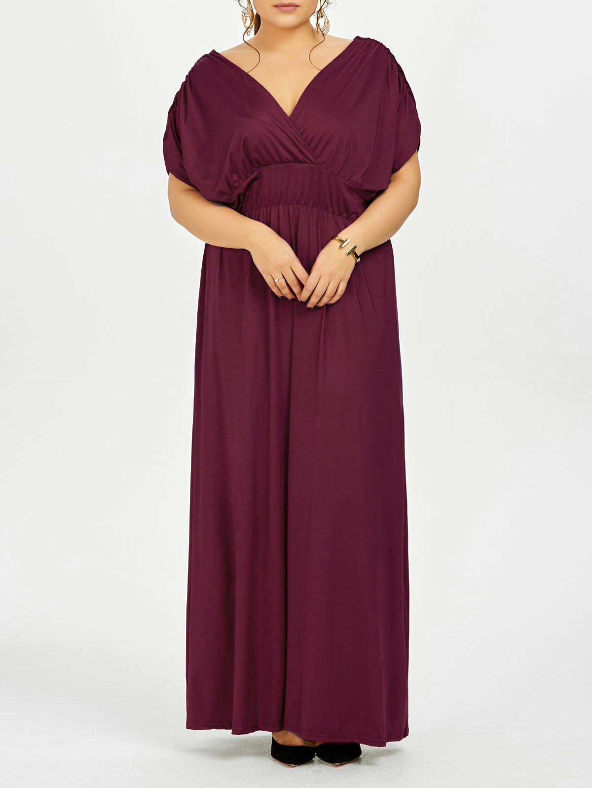 2018 Plus Size Empire Waist Long Formal Evening Dress Wine Red Xl In