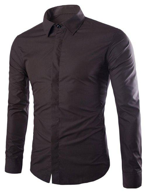 Turndown collar cover placket slimming shirt coffee 3xl for Tuxedo shirt covered placket