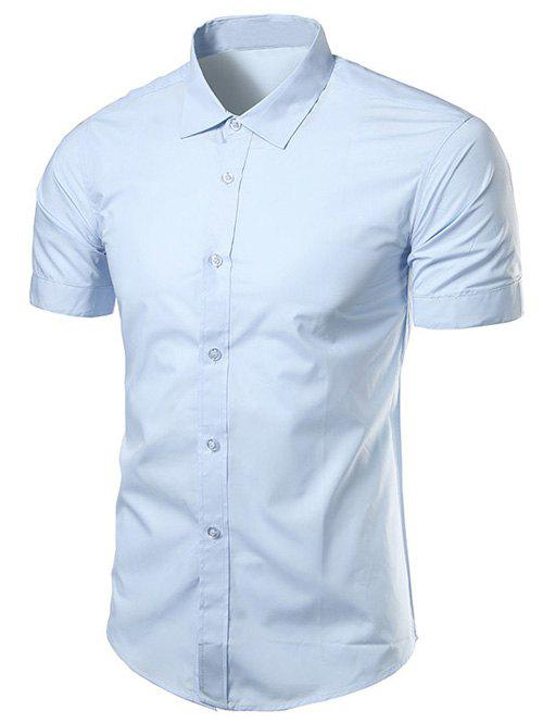 Turndown Collar Slimming Short Sleeve Business Shirt - LIGHT BLUE 3XL