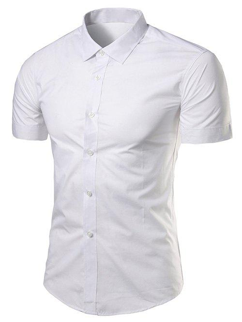 Turndown Collar Slimming Short Sleeve Business Shirt - WHITE 3XL
