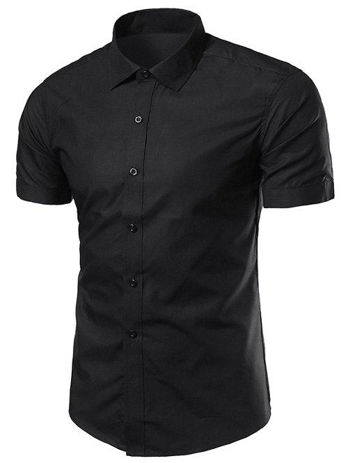Turndown Collar Slimming Short Sleeve Business Shirt - BLACK 3XL