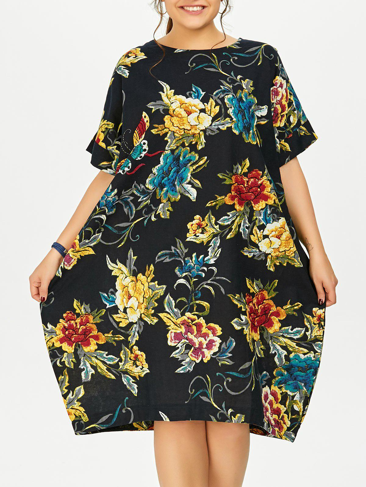 2018 plus size butterfly floral midi oversized dress deep blue one