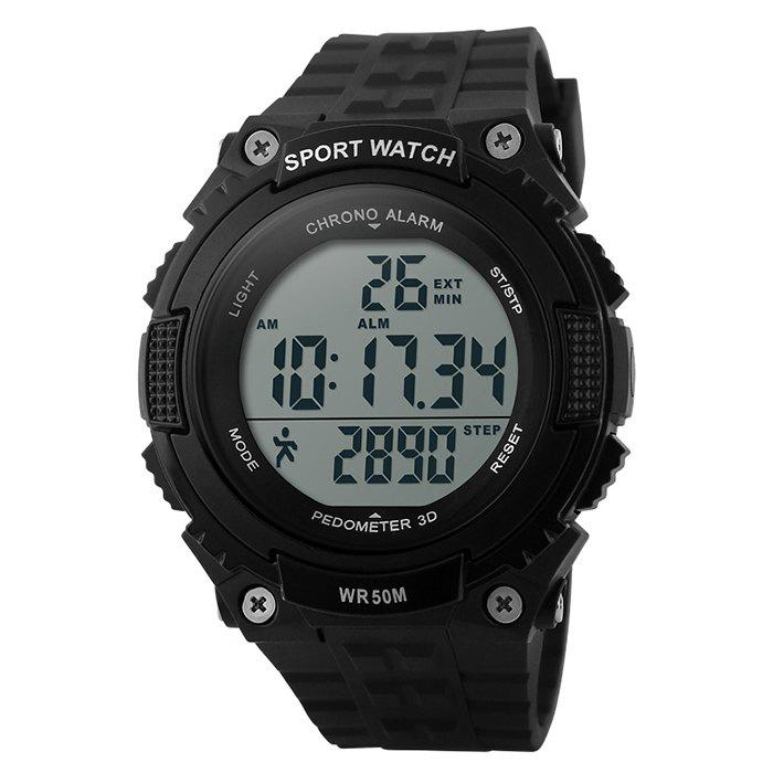 SKMEI Outdoor Pedometer Sports Watch - BLACK