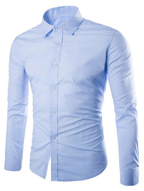Long Sleeve Slimming Business Shirt - LIGHT BLUE XL