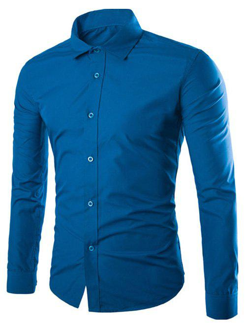 Long Sleeve Slimming Business Shirt - DEEP BLUE 2XL