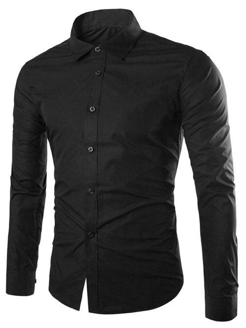 Long Sleeve Slimming Business Shirt - BLACK XL